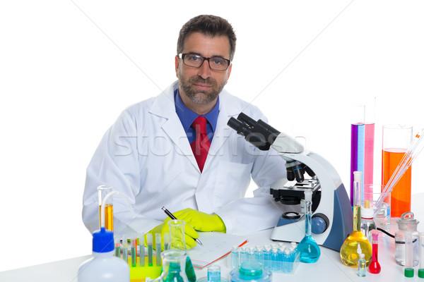 Vegyi laboratórium tudós férfi dolgozik portré Stock fotó © lunamarina