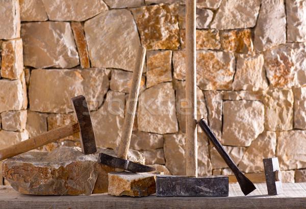 ハンマー ツール メーソンリー 作業 石工 石の壁 ストックフォト © lunamarina