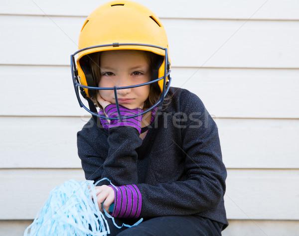 children baseball cheerleading pom poms girl sad relaxed Stock photo © lunamarina