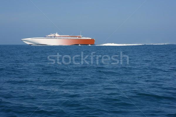 Hızlı feribot yelkencilik mavi okyanus deniz Stok fotoğraf © lunamarina