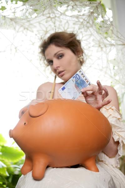 Stockfoto: Oude · kostuum · mode · vrouw · spaarvarken · witte