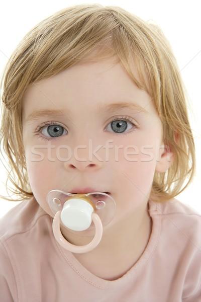 Bebek sarışın saç emzik Stok fotoğraf © lunamarina