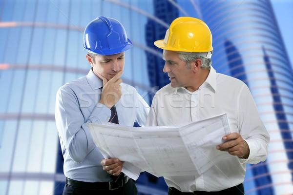 Stock foto: Ingenieur · Architekt · zwei · Sachverstand · Team · Plan