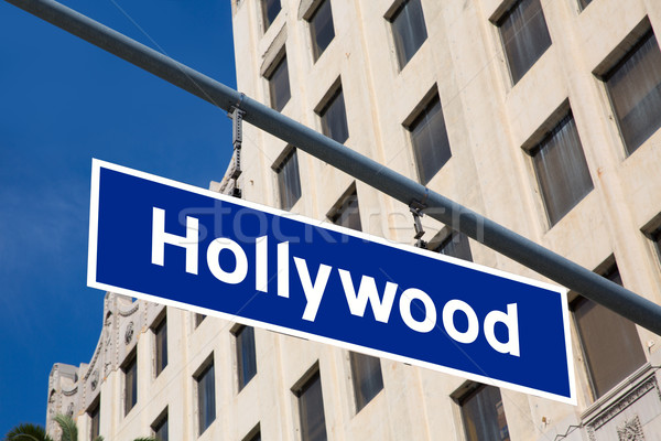 Hollywood  sign illustration over LA boulevard Stock photo © lunamarina