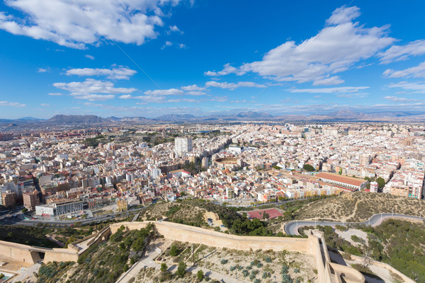 Alicante skyline aerial from Santa Barbara Castle Spain Stock photo © lunamarina