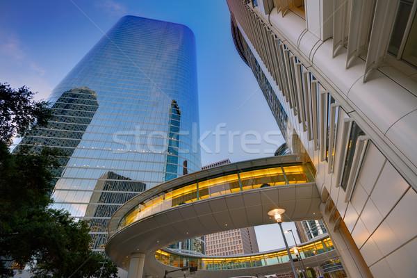 Houston belváros naplemente felhőkarcolók Texas modern Stock fotó © lunamarina