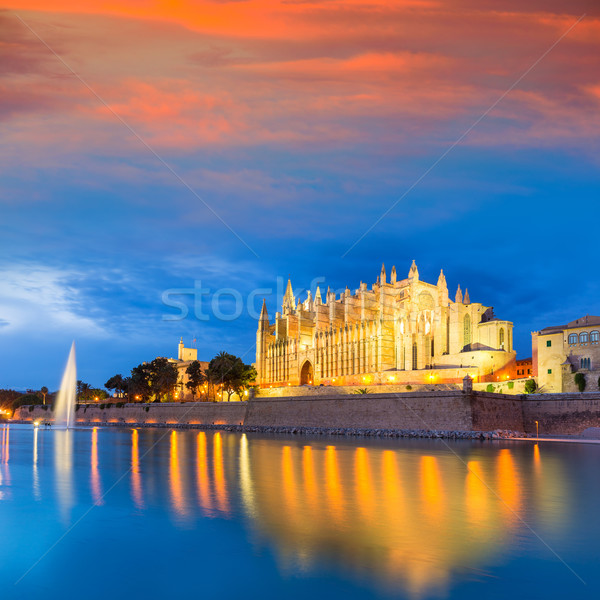 Palma de Mallorca Cathedral Seu sunset Majorca Stock photo © lunamarina