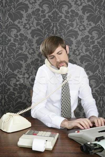 retro mustache multitask businessman office desk Stock photo © lunamarina