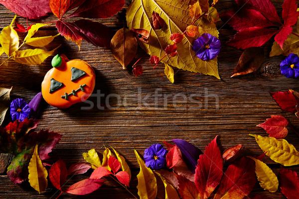 Halloween tök copy space fa fából készült háttér étel Stock fotó © lunamarina