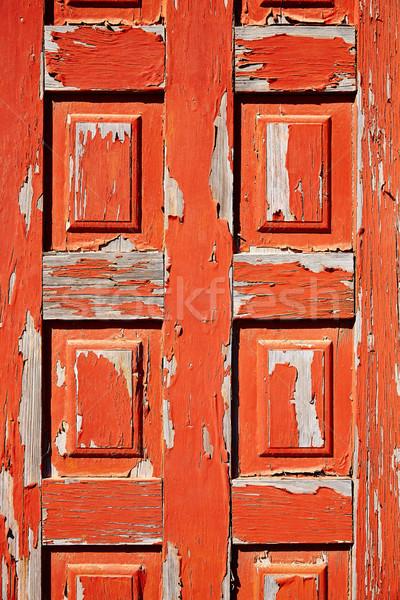 Aged red door in Fuerteventura Canary Islands Stock photo © lunamarina