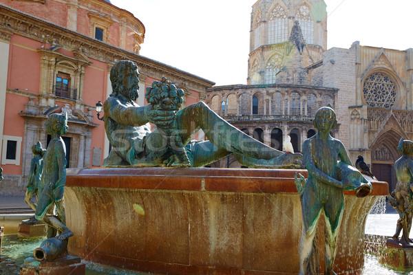 Valencia Plaza de la Virgen sq and Neptune statue Stock photo © lunamarina