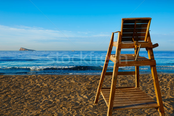 Benidorm Poniente beach watchtower seat Alicante Stock photo © lunamarina