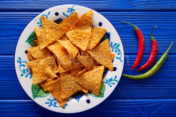 Nachos sültkrumpli chilipaprika mexikói étel mexikói tányér Stock fotó © lunamarina