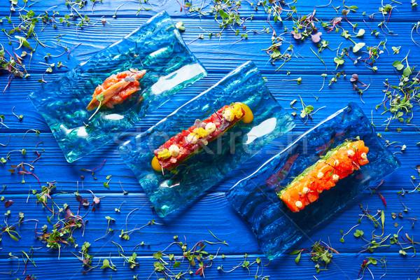 Somon ton balığı domates ahşap arka plan mavi Stok fotoğraf © lunamarina