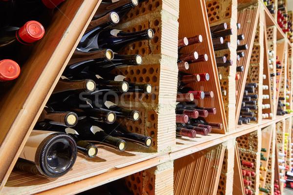 Foto stock: Adega · mediterrânico · garrafas · fábrica