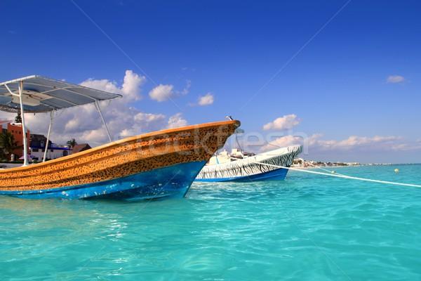 Stockfoto: Strand · boten · turkoois · caribbean · water · oranje