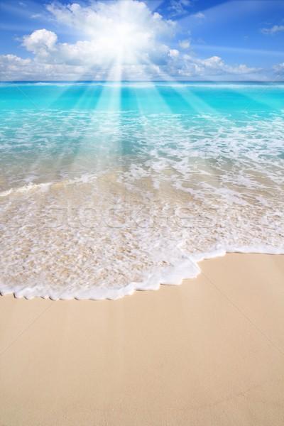 Karaibów turkus plaży morza słońce chmury Zdjęcia stock © lunamarina