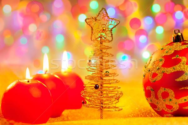 Foto stock: Natal · dourado · vermelho · borrão · luzes · árvore