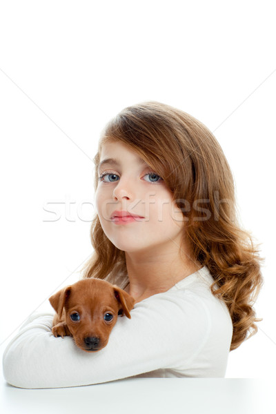 Brunette girl with puppy dog mini pinscher Stock photo © lunamarina