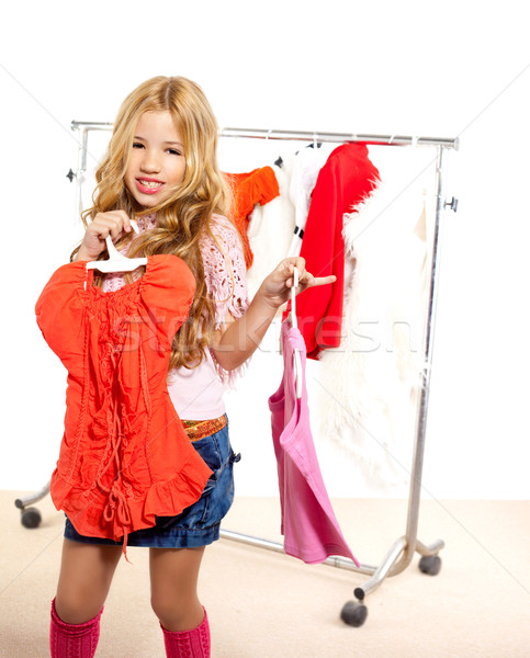 Stock photo: fashion victim kid girl at backstage wardrobe