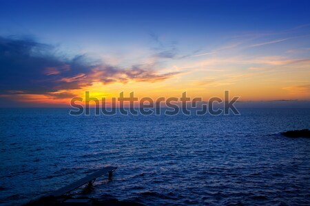Balearic Formentera island sunset in Mediterranean Stock photo © lunamarina