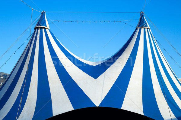 Circus tent stripped blue and white Stock photo © lunamarina