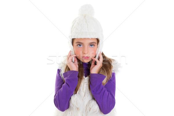 青い目 子 子供 少女 白 冬 ストックフォト © lunamarina
