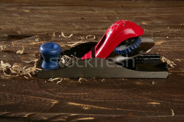 planer carpenter hand tool wood shaving Stock photo © lunamarina