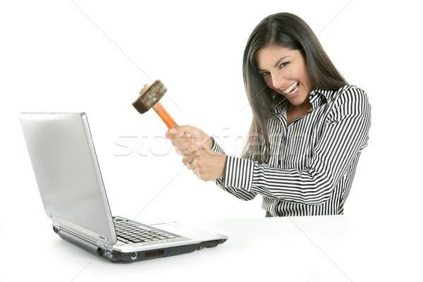 Enojado morena mujer de negocios martillo Screen teléfono Foto stock © lunamarina