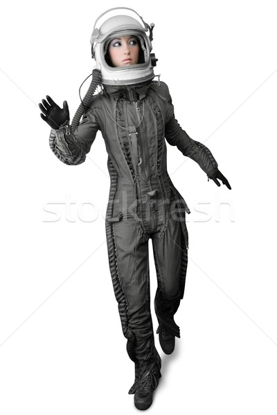 astronaut fashion stand woman space suit helmet Stock photo © lunamarina