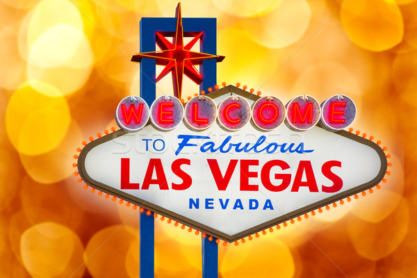 Welcome to Fabulous Las Vegas sign blurred highlights Stock photo © lunamarina