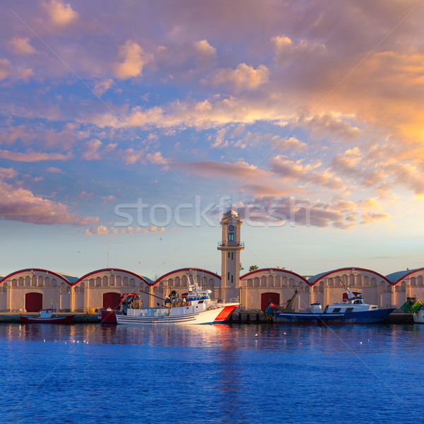 Stok fotoğraf: Liman · Valencia · akdeniz · İspanya · gün · batımı · plaj