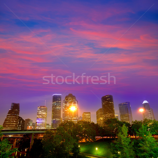 Houston skyline west zonsondergang Texas Stockfoto © lunamarina