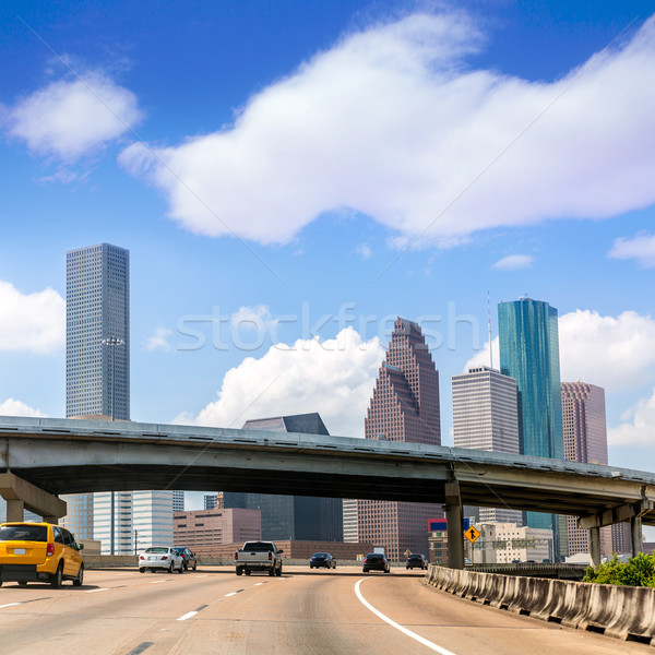 Houston skyline snelweg Texas verkeer Stockfoto © lunamarina
