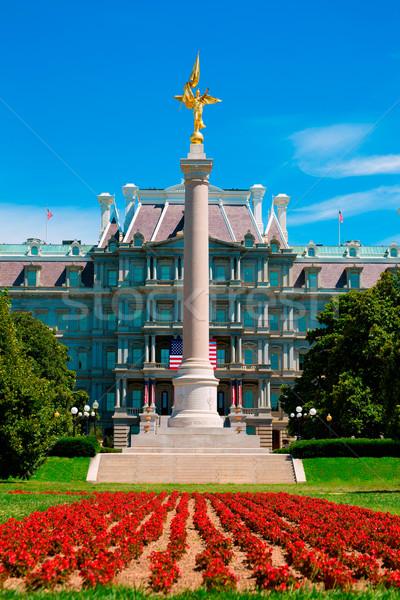 Gold winged Victory statue World War I memorial Stock photo © lunamarina