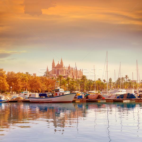 Palma de Mallorca port marina Majorca Cathedral Stock photo © lunamarina
