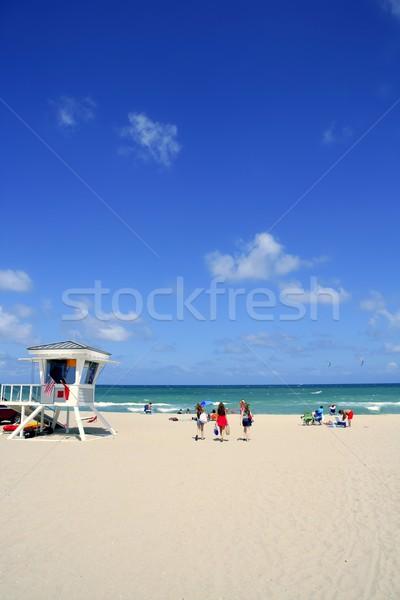 Форт-Лодердейл Флорида спасатель beach house Blue Sky пляж Сток-фото © lunamarina