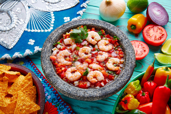 Ceviche de Camaron shrimp molcajete from Mexico Stock photo © lunamarina