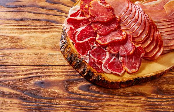 Tapas Iberico ham and lomo sausage Spain Stock photo © lunamarina