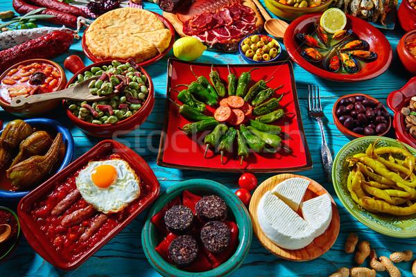 Tapas Spanje populair recepten mediterrane keuken Stockfoto © lunamarina