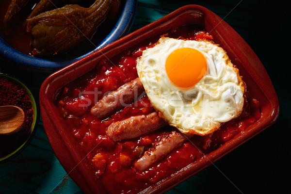 Tapas kolbász tojás étterem olaj vacsora Stock fotó © lunamarina