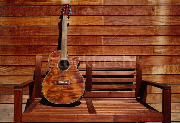 Akoestisch bruin gitaar houten muur Stockfoto © lunamarina