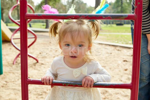 Kid ragazza madre giocare parco giochi scala Foto d'archivio © lunamarina