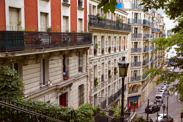 Párizs Montmartre lépcsősor lépcsőfeljáró elér épület Stock fotó © lunamarina