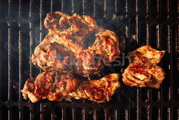 Barbecue carbone carne alimentare fumo cena Foto d'archivio © lunamarina