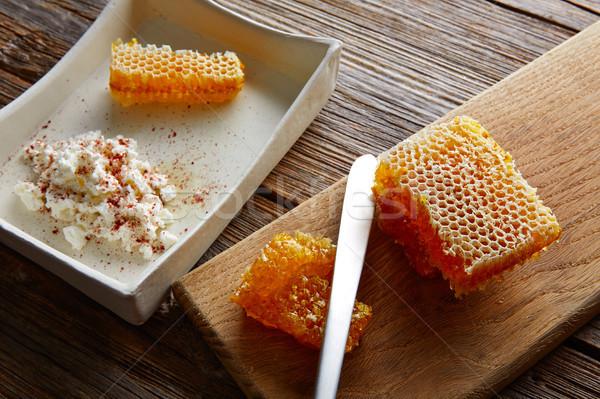 Twaróg miodu plaster miodu deser Pszczoła wzór Zdjęcia stock © lunamarina