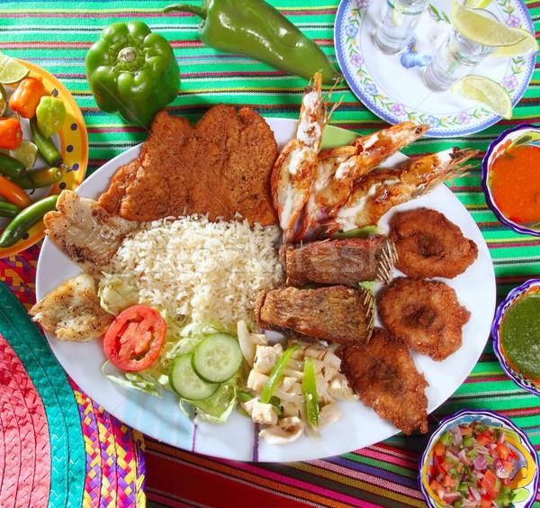 Grillezett tengeri hal Mexikó tequila chili forró Stock fotó © lunamarina