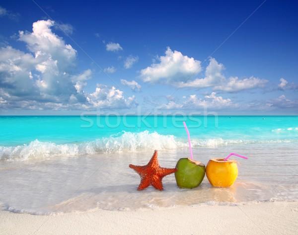 coconut cocktails juice and starfish in tropical beach Stock photo © lunamarina