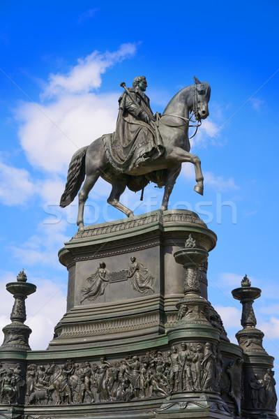 Posąg króla drezno opera Niemcy niebo Zdjęcia stock © lunamarina