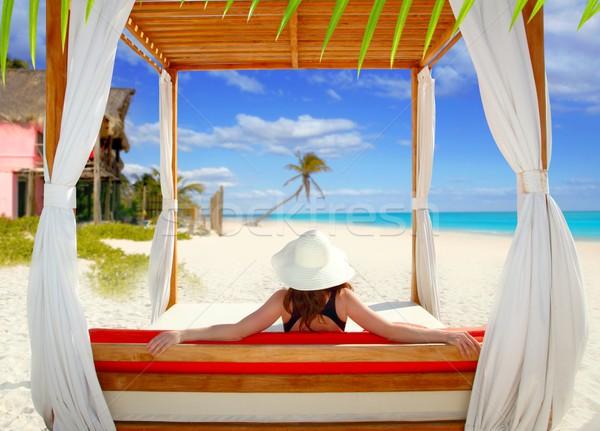 gazebo tropical beach woman rear view looking sea Stock photo © lunamarina